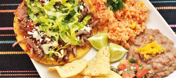 Sweet and Spicy Crock Pot Shredded Beef Tostadas