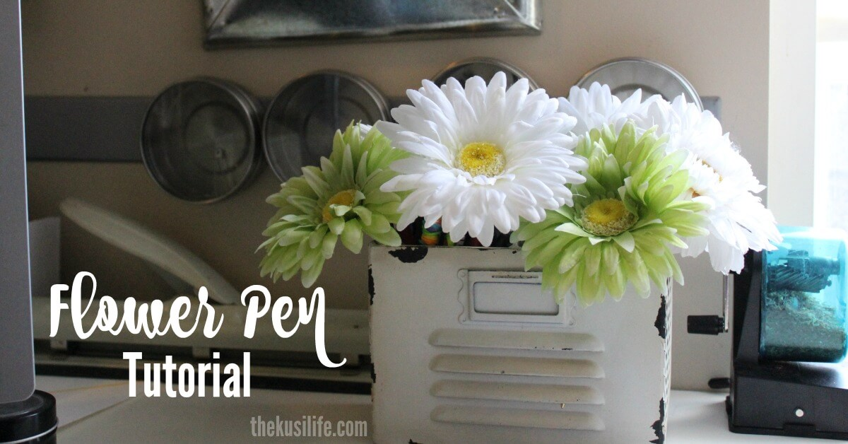 Flower Pen Tutorial/ add a little sunshine to your space with this simple craft/ thekusilife.com