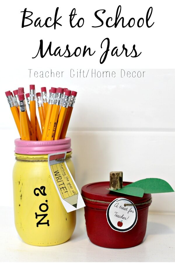 Cute jars to give to teacher or keep home/ Back to school mason jars/seethehappy.com