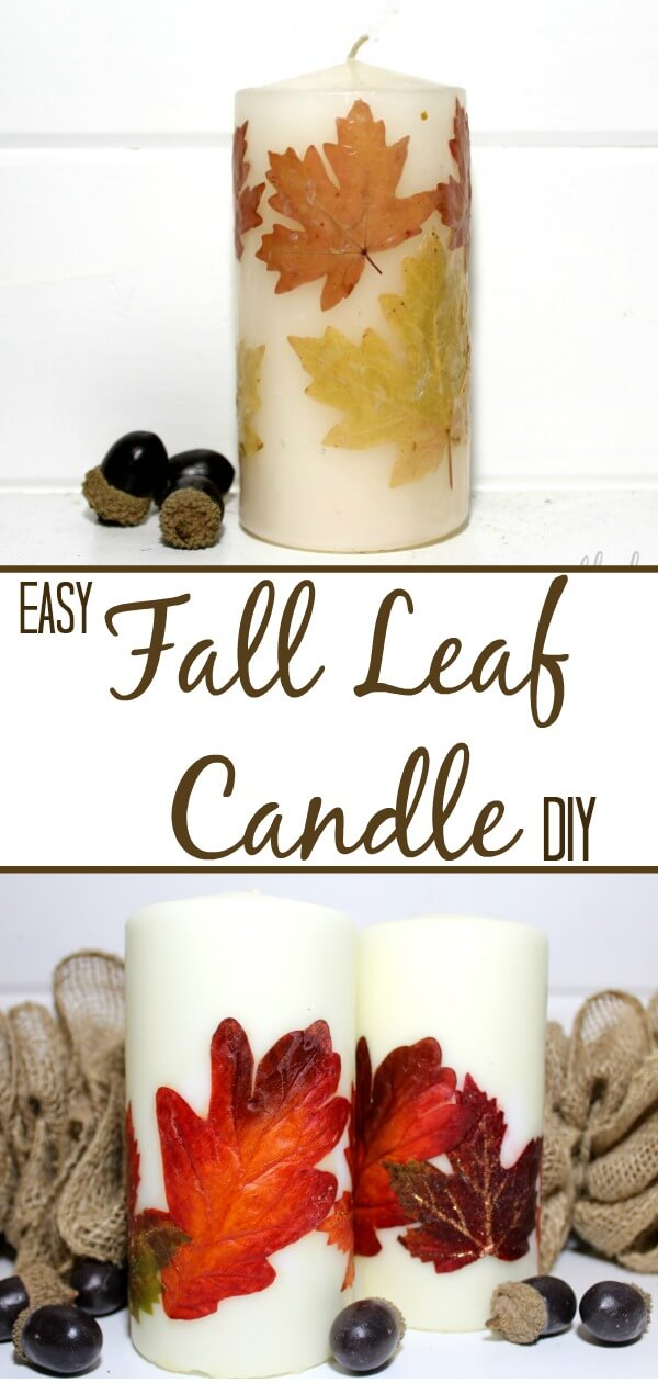 Easy Fall Leaf Candle/ Learn how to make a quick and easy candle using leaves you gathered or bought at the store/ seethehappy.com